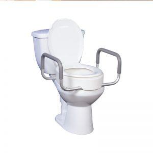 Siège de toilette surélevé avec bras amovibles