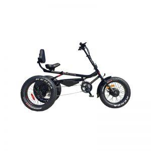 Vélo Azteca version électrique avec grosses roues. Robuste et puissant, le E-Fat Azteca vous fera vivre une des randonnées les plus stimulantes de votre vie!